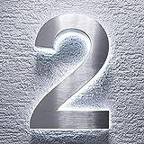 Hausnummer Edelstahl - indirekte LED-Beleuchtung - rostfrei & wetterfest - Spritzwassergeschützt - klassisches Design (2)