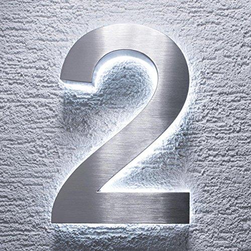 Metzler-Trade - Hausnummer aus V2A Edelstahl - mit indirekter LED-Beleuchtung - in weiß - rostfrei und wetterfest - klassisches Design - spritzwassergeschützt - Höhe: 200 mm Stärke: 35 mm (2)