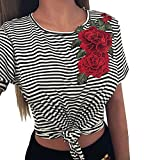LILICAT Frauen Mode T-Shirt Sommer Oberteile Sexy Gestreift Bluse Damen Chic Crop Tops Applikationen Rose Hemd Kurze Ärmel Tank Tops (XL, Noir)