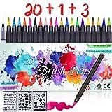 Pinselstifte Set 24 in 1 Aquarell Pinselstifte Brush Pen Set, 20 Aquarell Farben, 1 Wassertankpinsel, 3 Schablonen, Flexiblen Pinselstifte für Bullet Journal Zubehör, Kalligrafie und Hand Lettering