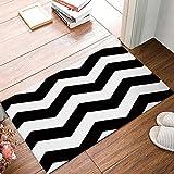KCOUU Geometrische Fußmatte, schwarz-weiß Chevron Muster rutschfeste Gummi Welcome Mats Boden Teppich für Badezimmer/Front Diele, Flanell, 16X24