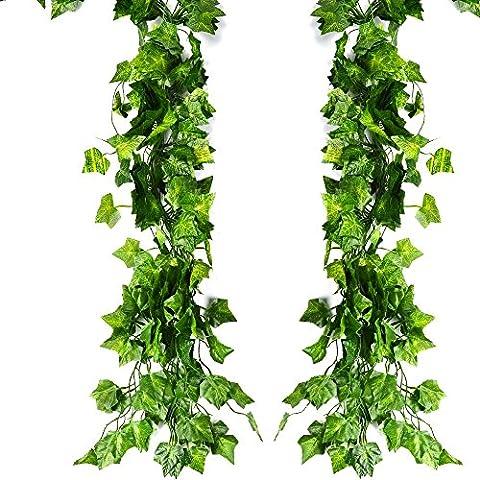 ATPWONZ 12 PCS Ivy Vine Hanging Garland artificielle Faux feuilles de plantes Party Decoration jardin mur 78