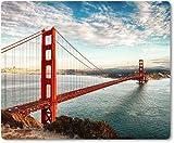 Mauspad / Mouse Pad aus Textil mit Rückseite aus Kautschuk rutschfest für alle Maustypen Motiv: USA San Francisco Golden Gate Bridge unter blauem Himmel [ 02 ]