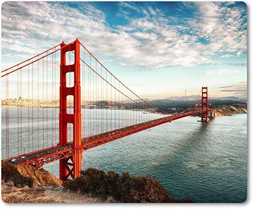 Mauspad / Mouse Pad aus Textil mit Rückseite aus Kautschuk rutschfest für alle Maustypen Motiv: USA San Francisco Golden Gate Bridge unter blauem Himmel [ 02 ] (Bridge Design Kinder)