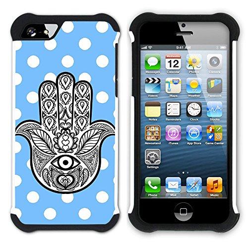 Graphic4You Hamsa Hand der Fatima Punktmuster Tupfen Muster (Wasserblau) Hart + Weiche Kratzfeste Hülle Case Schale Tasche Schutzhülle für Apple iPhone SE / 5 / 5S Babyblau