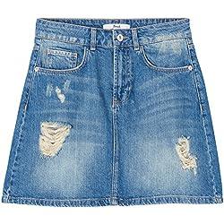 FIND Women's Rip Denim Mini Skirt