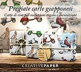 Papier naturel - Papier cadeau et de décoration japonais: Vespa motos anciennes et rétro...
