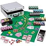 Ultimate Poker Set Custodia in alluminio per Alu Poker - 600 fiches Laser 12 g con inserto in metallo Compreso shuffler automatico per carte Poker Deck Dealer Dealer Button Jetons Custodia in allu