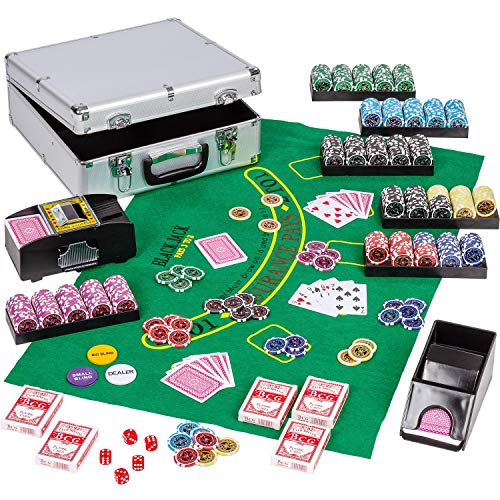 Maxstore Ultimate Pokerset Alu Pokerkoffer Deluxe, 300er BZW. 600er Edition, 12 Gramm METALLKERN Laserchips, Poker Decks, Kartenmischer, Kartengeber, Würfel, Dealer Button, Pokerchips, Jetons