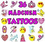 German Trendseller® - 36 x Tattoos Mix für Mädchen ┃ - Kinder Tattoos - ┃ Kinder - Tattoo - Mix ┃ 36 - verschiedene Tattoos