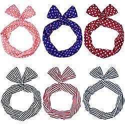 6 Piezas Diadema de Alambre Diadema de Lazo Cinta de Cabeza de Rayas Puntos Lunares Cinta de Pelo para Mujeres y Chicas, Multicolor