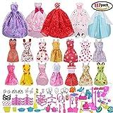 Xiton Accessoires Barbie poupées, Robe Accessoires pour poupées Barbie, 14pcs Jupes Robes d'été + 5 pcs Robe de mariée +98 Accessoire Barbie...