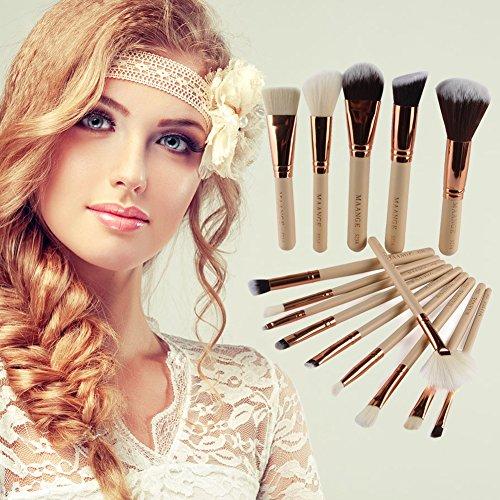 Domybest 15 pcs Or rose Lot de pinceaux de maquillage kit Fond de teint Brosse Outil