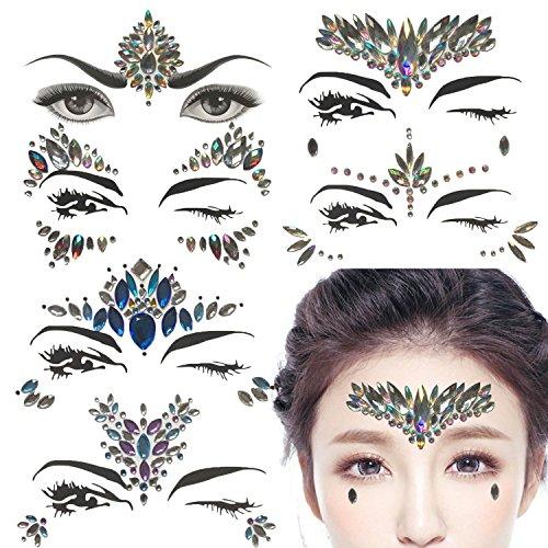 (6 Sätze Strass Gesicht Jewels Tattoo - Körper Kristall Edelstein Stein Bindi Temporäre Aufkleber Face Temporary Tattoo Sticker Metallic Shiny für Glitzer Effekt, Parties, Shows,Make-up)