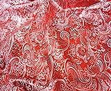 Rot & Silber Paisley Kunstseide Metallic Brokat 152,4cm W