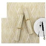 SueH Design 8 Stück Tischsets Platzsets Gold & Weiß Karo Waschbar Leicht zu Reinigen 45x30 cm