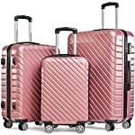 Flieks Hartschale Trolley Koffer Reisekoffer Zwillingsrollen Reisekoffer mit Zahlenschloss Handgepäck mit 4 Doppel-Rollen, XL-L-M (Pink, Set)
