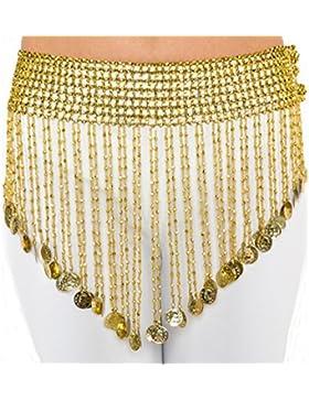 Emporio turco moneda de elástico cinturón para Plus tamaño de la cadera danza del vientre bufanda Cleopatra Plata...