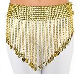 The Turkish Emporium Emporio turco moneda de elástico cinturón para Plus tamaño de la cadera danza del vientre bufanda Cleopatra Plata o Dorado (dorado)