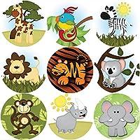 144 Wild Safari Animals - Themed Reward Stickers Teachers, Parents - Size 30mm