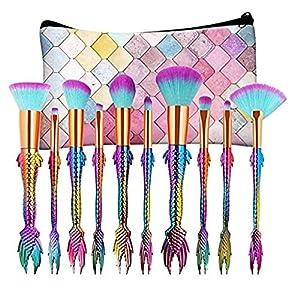 Coshine 10 Arco Iris único Conjunto de Pinceles de Maquillaje de la Sirena con Colorido Cepillo Pushcun, Unicornio Estilo de los Pescados Fundación Crema Blush Cepillo Kits de Herramientas con bols
