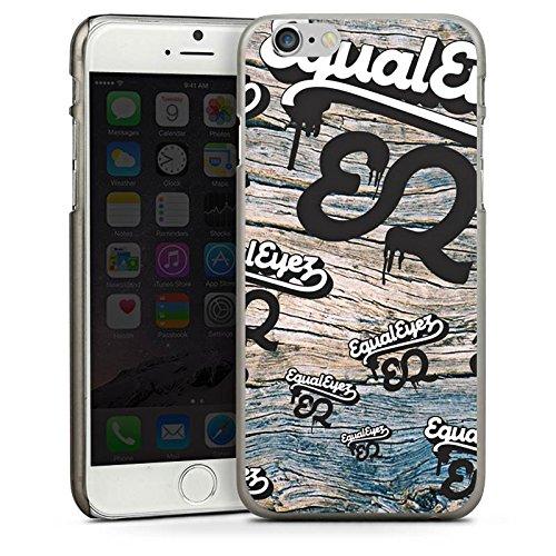 Apple iPhone 5 Housse Étui Silicone Coque Protection Equaleyez Écriture Touche du bois CasDur anthracite clair