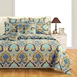 #6: Swayam Multi Colour Fitted Double Bed Sheet with Pillow Covers