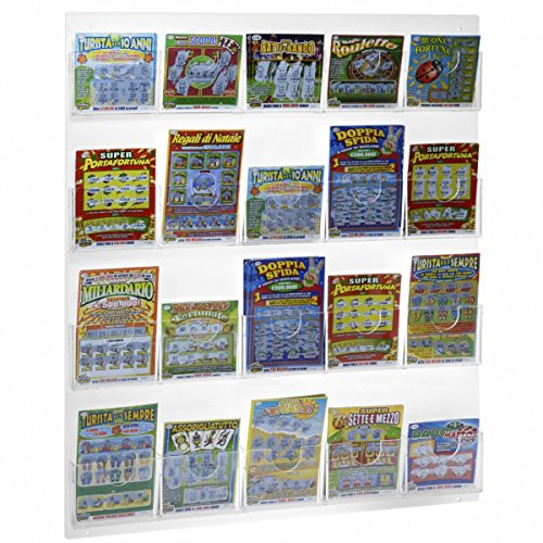 Espositore schedine e gratta e vinci da parete in plexiglass trasparente a 20 tasche - misure: 57 x h68 cm