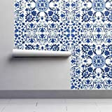 Amovible activable dans l'eaud Carreau de papier peint Scandinave Romarin Bleu Folk @ Rouleau 24'x60'