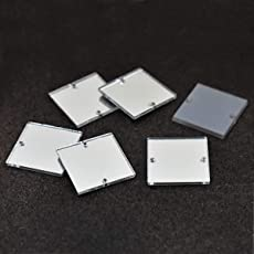Embroiderymaterial Acrylic Mirror for Embroidery and Craft Purpose (Square Shape, 25 Pieces)