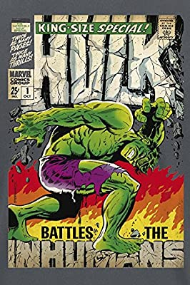 T-shirt poster super-héros Hulk Marvel - Sous licence - Gris