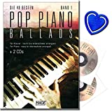 Pop Piano Ballads Band 1 mit 2CDs - Die 40 besten und bekanntesten Pop Balladen der letzten Jahrzehnte - Arrangements für Klavier - mit bunter herzförmiger Notenklammer - 4026929911971