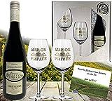 DAS Rotwein-Set | inkl. 2 Rotweingläsern| Luxus-geschenk für Rotwein-Freunde | Cabernet Sauvignon aus Frankreich (Bordeaux) |in der Geschenk-verpackung Silverstar |zwei Rotwein-kelche mit Echt-Gold Emblem