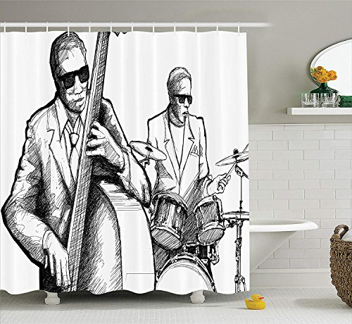 tgyew Jazz Music Decor Shower Curtain Set, Illustration of a Jazz Band Musicians Playing Drum Music Concert Performance, Bathroom Accessories, 60W X 72L Inche Long, Black White Paisley Boys Band