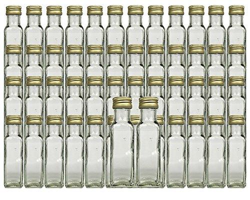 hocz Glasflaschen Set mit Schraubverschluss Gold | Füllmenge 100 ml | Maras Saftflaschen Spirituosen Likörflaschen Setzen Sie ganz einfach Ihr eigenes Öl an (50 Stück)