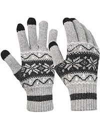 Novawo Gants avec Doigts Tricotés Tactiles Flocons de neige Unisexe