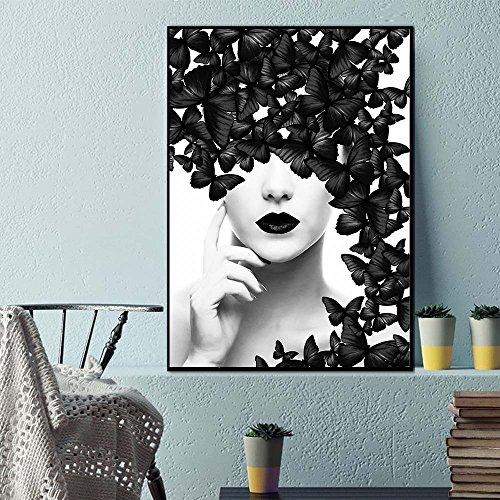 XIAOXINYUAN Póster De Mariposas En Blanco Y Negro Mujer Muro Lienzo Arte Imprime Imágenes De Pared Pinturas Modernas No Enmarcado 50X60Cm Sin Marco