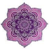 Yiiquan Lotus Strandtuch Gedruckt Boho-Stil Dekorativer Wandbehang Quaste Yoga Matte Blumen #13 150*150cm