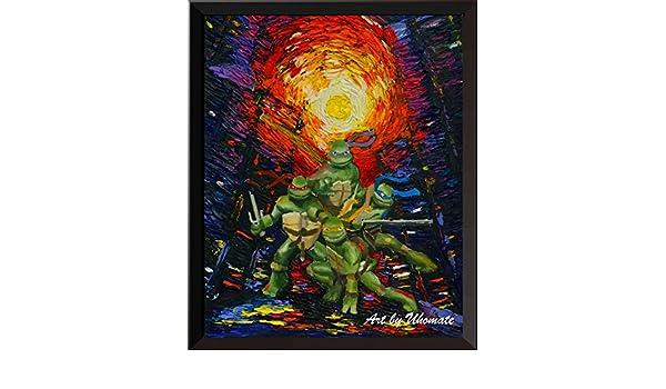 Teenage Mutant Ninja Turtle Decor Print Van Gogh Starry Night Wall Art A050