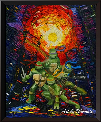 uhomate Teenage Mutant Ninja Turtle Wand Decor Vincent van Gogh Starry Night Poster Home auf Leinwand, Jahrestag Geschenke Baby Kinderzimmer Decor Wohnzimmer Wanddekoration A050, 8x10 inch