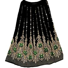 Falda larga de lentejuelas Dancers World Ltd de bonito diseño, estilo hippie bohemio, para