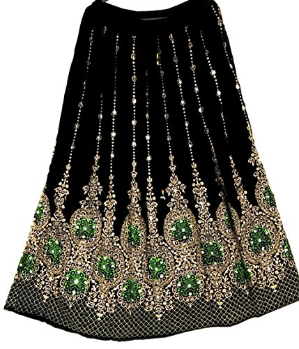 Jupe longue à paillettes Style indien hippie danse du ventre Black Gold with Green inset