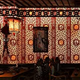 Papier peint de style chinois classique imitant la sculpture sur bois de la fenêtre d'étude porche la télé du salon toile de fond d'fukurokuju
