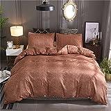 NTBED morbidezza cotone e lino colore solido Home Bedding set copripiumino, Brown, Super King(260x230cm,no filling)