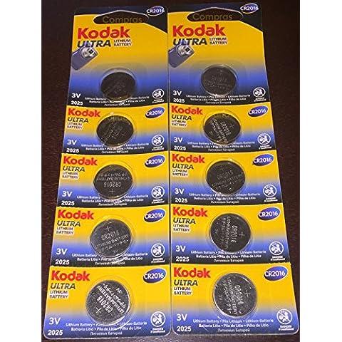 10 Pilas Kodak Ultra CR2016 de Gran Calidad y Larga Duración - Baterias boton litio 3V CR 2016 para mandos relojes, mejores que duracell maxell panasonic energizer - Vendido por Compras