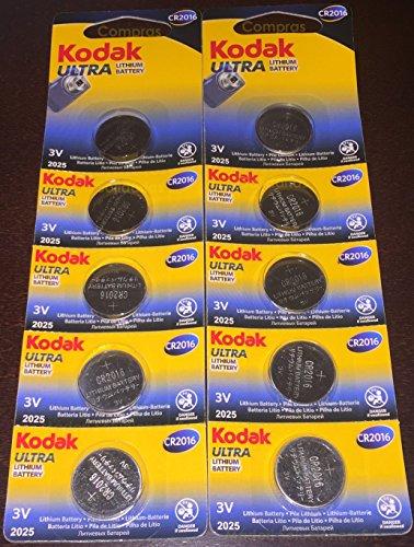 Kodak Ultra CR2016–Batterie a Bottone al Litio, 3V CR2016,per telecomandi e orologi, di ottima qualità e lunga durata, 10 pezzi