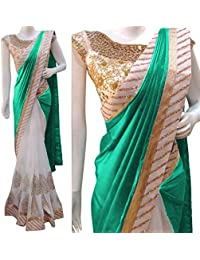 Saree Duniya Embroidered Multi And Beige Half And Half Georgette Saree With Blouse Material