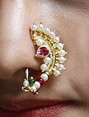 Womens Trendz Handcrafted Attractive Gold Plated Nath/Nose Ring for Womens and Girls