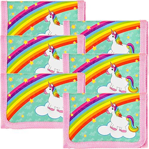 TE-Trend 6 Stück Einhorn Regenbogen Kinder Mädchen Portemonnaie Geldbeutel Geldbörse Mitgebsel Kindergeburtstag ()