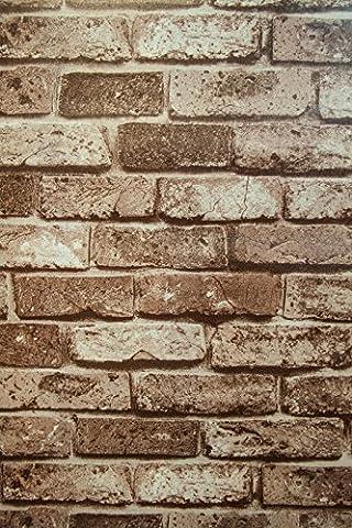 Braun Vintage Brick Vinyl PVC-Folie selbstklebend Tapete Rolle waschbar